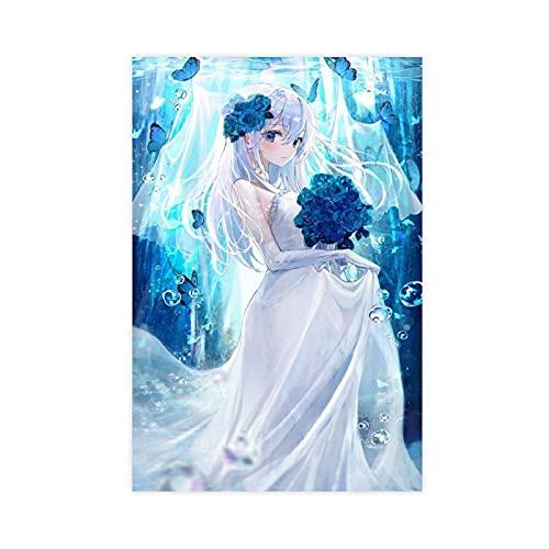 Póster de anime para vestido de novia de lona, decoración de pared, para sala de estar, dormitorio, decoración, 50 x 75 cm