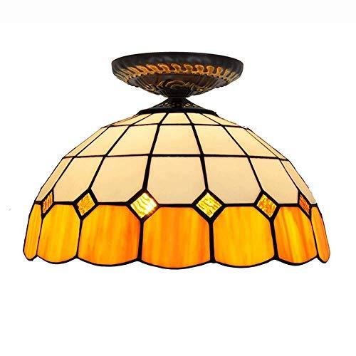 Plafonnier De Style Tiffany De 12 Pouces Lamp Plafonnier Luminaire De Couloir D'ombrage Rond De Style Méditerranéen, Appareils D'éclairage For Plafond Led Lampe De Décoration En Verre