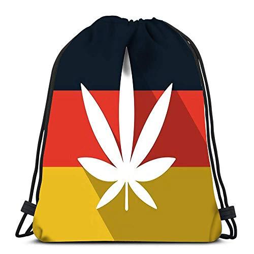 JDHFJ Bolsa con cordón Drawstring Backpack Germany Long Shadow Flag Witha Marijuana Leaf for School Or Travel