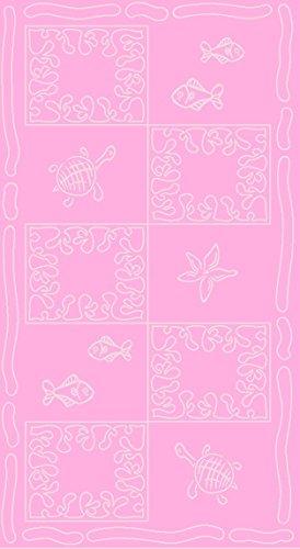 SO MY HOME - Toalla de playa de terciopelo, algodón puro, talla XXL 100 x 200 cm, diseño de tortugas, algodón (Rosa)