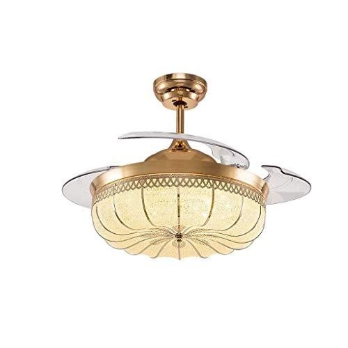 JJZXD Ventilador de Techo de luz LED de la lámpara de Techo retráctil de la lámpara lámpara del Oro Lámparas Ventilador