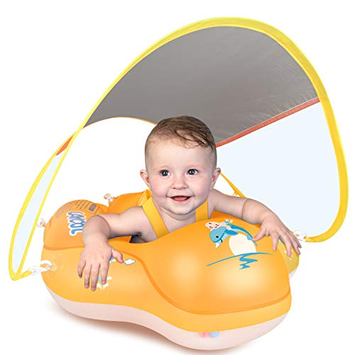 LAYCOL Baby Swimming Float Inflatable Baby Pool Float Ring Newest with Sun Protection Canopy,add Tail no flip Over for Age of 3-36 Months