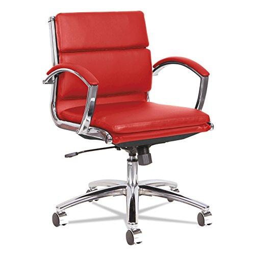 Price comparison product image Alera ALE Neratoli Low-Back Slim Profile Chair,  Red Soft Leather,  Chrome Frame