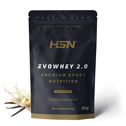 Concentrado de Proteína de Suero Evowhey Protein 2.0 de HSN | Whey Protein Concentrate| Batido de Proteínas en Polvo | Vegetariano, Sin Gluten, Sin Soja, Sabor Vainilla, 2Kg