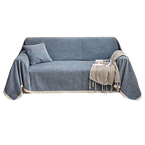 ZHFEL Funda para Sofá Color Sólido,Universal Cubre Sofa para 1 2 3 4 Plazas Protector para Muebles Antideslizante Lavable Chenille Funda de Sofá para Sala Dormitorio-180x240cm(70'x94')-H