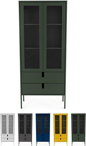 tenzo 8565-031 UNO Designer Vitrine 2 Portes, 2 tiroirs, Vert, MDF Particules ép. 19 et 16 mm Panneau arrière laqué. Poignées en matière Plastique, 178 x 76 x 40 cm (HxLxP)