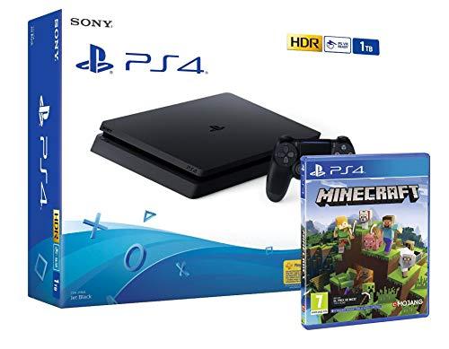 """PS4 Slim 1Tb Negra Playstation 4 Consola + Minecraft """"Bedrock"""""""