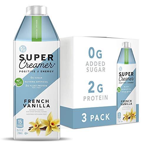 Kitu Super Coffee Plant Based Keto Coffee Creamer | 0g Added Sugar, 2g Pea Protein, 15 Calories [French Vanilla] 25.4 Fl Oz, 3 Pack