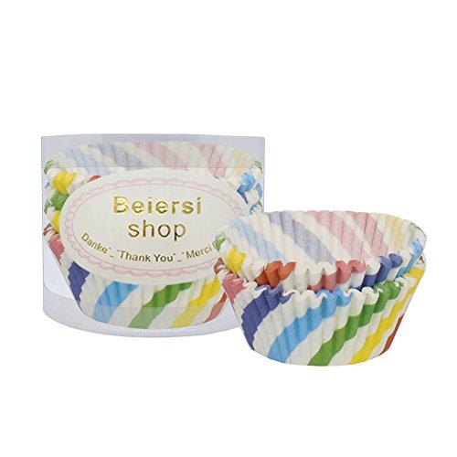 Beiersi Caissette à Cupcakes Lot de 100 Papier pour Muffins Gateau Moule Pâtisserie Assorties Décor Noël Halloween Soiree de Mariage-Plusieurs Styles (Style 5)