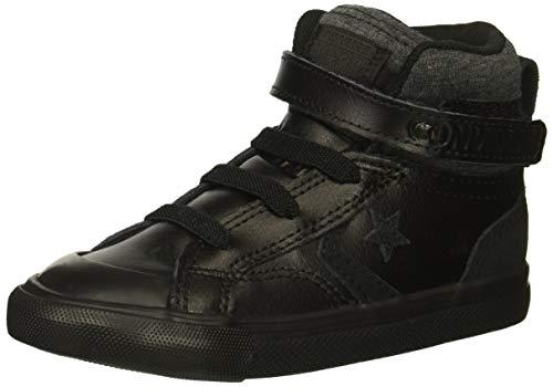 Converse Boys' Pro Blaze Strap Leather Suede High Top Sneaker, Black/Black/Black, 6 M US Big Kid