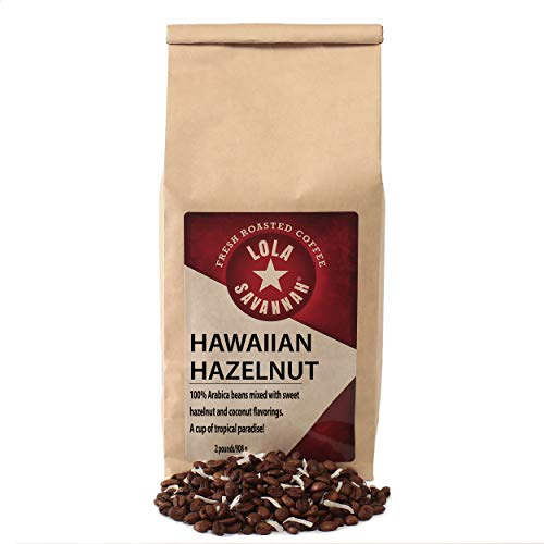 Lola Savannah Hawaiian Hazelnut Whole Bean Coffee - A Cup of Tropical Paradise | Roasted with Mild Hazelnut & Real Coconut Flakes | Caffeinated | 2lb Bag