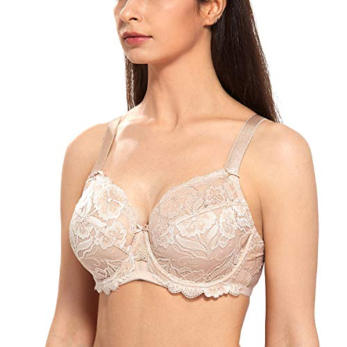 DELIMIRA Women's Full Coverage Non-Foam Floral Lace Plus Size Underwired Bra Beige 36H