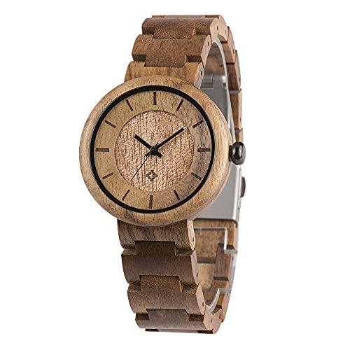 Reloj de Madera para Mujer, Correa de Madera Ajustable a Mano Natural, de Moda y Pura, Saludable y ecológica, Aniversario de Las Damas. (Color : Acacia)