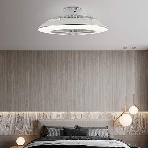 Ventilador de luz UFO de 55cm,Ventilador de techo sin aspas de 45 W * 2 con luces LED,Ventilador de techo inteligente sin aspas,Atenuación continua 96W+APP,3 tipos de velocidad,Plateado