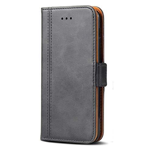 Bozon Lederhülle Hülle für Samsung Galaxy J3 (2017) DUOS - Cover Flip Tasche mit Ständer & Kartenfächer - Dunkel Grau