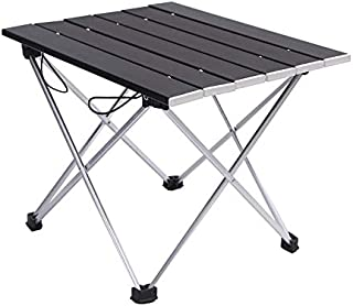 SEMPIYI Foldable Aluminum Camping Table, Portable Aluminum Camping Table, No Tools, Easy to Install, with Storage Bag. (Black)