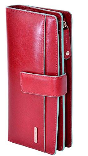 """Visconti portafoglio di pelle da donna a piegatura doppia """"Verona"""" gallone nero/blu Large Purse (VR10):"""