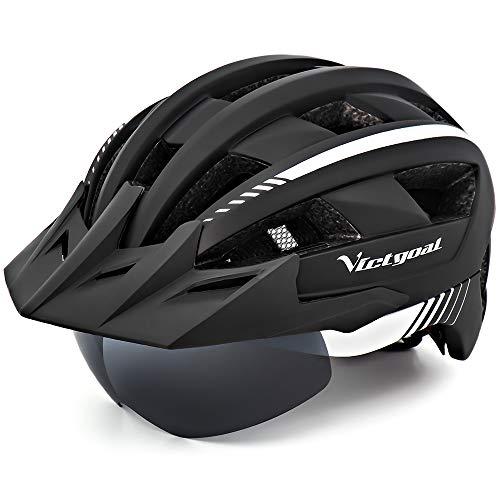 VICTGOAL Fahrradhelm MTB Mountainbike Helm mit abnehmbarem magnetischem Visier Abnehmbarer Sonnenschutzkappe und LED Rücklicht Radhelm Rennradhelm für Erwachsenen Herren Damen (Black White)