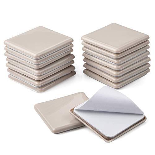 Ezprotekt 6,3 cm quadratisch Möbelgleiter Gleiter 16 Stück Möbel Bein selbstklebend Bodenschoner Teppich beweglichen Pads Movers