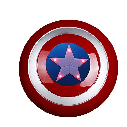 12.8 inch Captain America Shield with Flash Light and Voice for Kids Halloween Cosplay (No Battery Included) Red