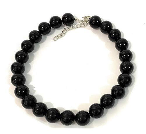 Caprilite 18mm Large Big Giant Faux Pearl Bead Statement Necklace Choker Vintage - Black
