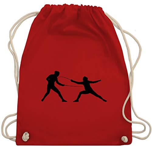 Shirtracer Kampfsport - Fechten - Unisize - Rot - fechten kinder - WM110 - Turnbeutel und Stoffbeutel aus Baumwolle
