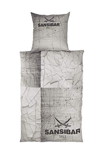 Sansibar Satin Wendebettwäsche Bettwäsche Set 2 teilig Bettbezug 135x200 cm Kissenbezug 80x80 cm Design Hellgrau