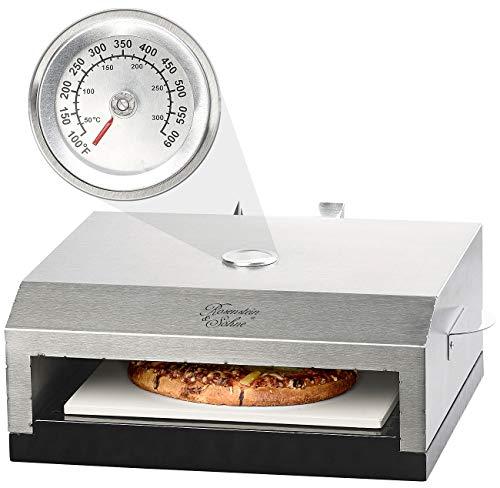 Rosenstein & Söhne Pizza-Aufsatz Gasgrill: Pizzaofen-Grillaufsatz mit Steinplatte & Temperaturanzeige bis 300 °C (Pizza-Aufsätze Kugelgrills)