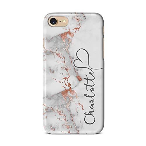 iCaseDesigner Schutzhülle für Apple iPhone Modelle, personalisierbar, mit Glitzer, Polycarbonat, 17. Grauer Marmor mit künstlichem Roségold Vertikaler Name, iPhone 7/8