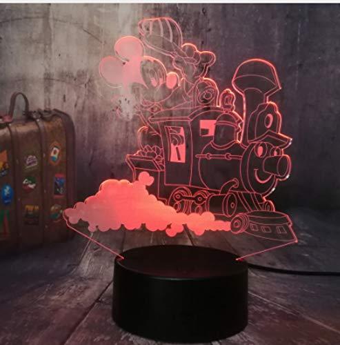 Iluminación Luz Lectura Lampara De Mesa Luz De Lectura Mickey Mouse Conducción De Un Tren Lámpara De Mesa Led 3D Noche Luz De La Bombilla Habitación Decoración Niños Juguetes Bebé Año Nuevo