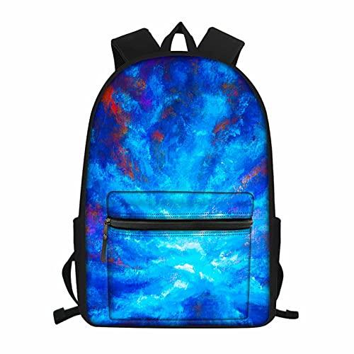 NETILGEN Mochila escolar para niños y niñas, bolsa de libros para adolescentes, Nubes pintadas en azul, Talla única