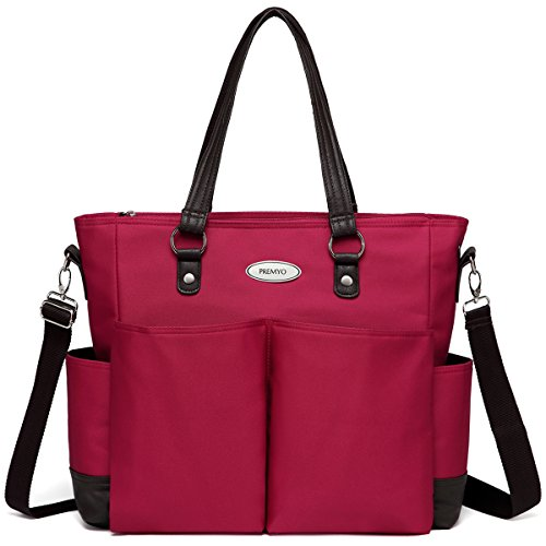 PREMYO XXL Baby Wickeltasche Groß - Mit Kinderwagenbefestigung Wickelunterlage - Multifunktional Komfortabel Rot