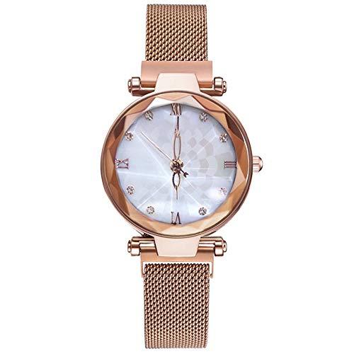RelojesQFERWRelojes deMujer Dial Irregular Reloj de Moda para Mujer Reloj de Pulsera de Cuarzo Correa de Hebilla magnética Relogio Feminio @ 50, Negro