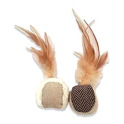 Interactive and Safe Cat Toys- Ball with Feathers- Helps Release Stress & Boredom - Great for Stimulation