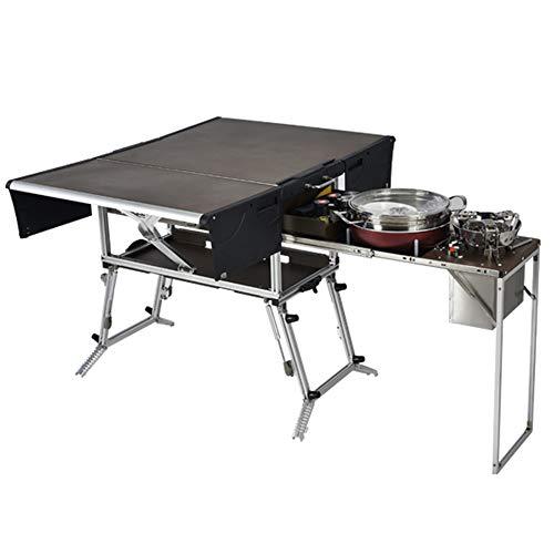 OTENGD Zusammenklappbare Camping-Küchenkonsole aus Aluminiumlegierung, tragbare, zusammenklappbare Kochstation mit Herd, kompakter, langlebiger Kochtisch für BBQ, Party, Camping, Picknick
