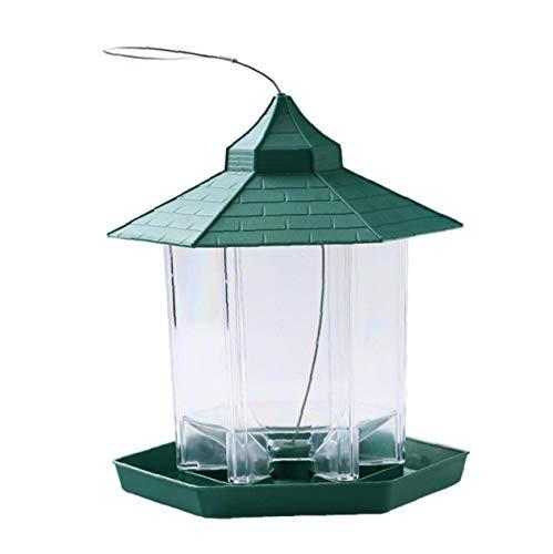 CXMM Alimentador del pájaro Que cuelga Gazebo Alimentador de pájaros Salvajes, Aves al Aire Libre plástico envase de alimento a Prueba de Agua la decoración del jardín