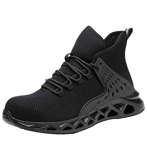 HOUJIA Zapatos de Seguridad, Zapatos de Trabajo,Zapatillas con Punta de Acero,Zapatillas industriales para Hombre y Mujer,Transpirables,Ligeras y Protectoras para Trabajo Zapatos de construcción