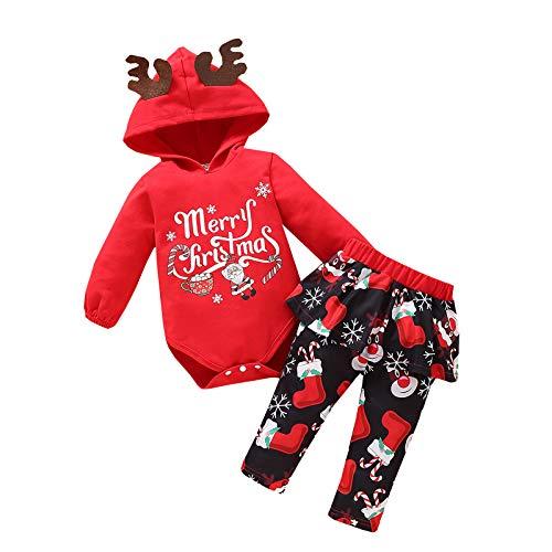 Neugeborene Baby Weihnachten Gedruckt Langarm Strampler mit Kapuze und Hose Set, Mädchen Jungen Weihnachtsoverall Kinder Herbst Winter Weiche warme Kleidung Set