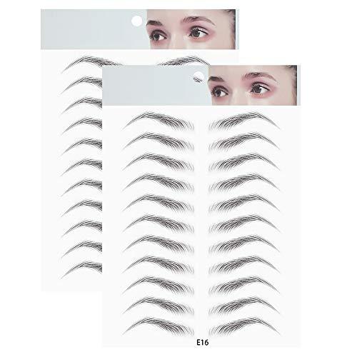 Freeorr 2 Stück 3D Haarähnliche Authentic Augenbrauen Schablonen, Wasserdichte Natürliche Tätowierung Augenbrauenaufkleber, Shaping Brow Falsche Augenbrauen für Frauen-E16