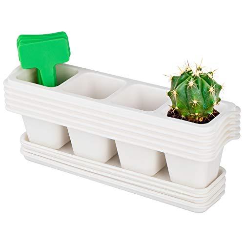 ANSUG 5 Piezas de macetas de plástico para viveros, 4 Celdas macetas de plástico para Plantas suculentas Maceta de Cactus con bandejas para Plantas y Flores de balcón jardín Oficina