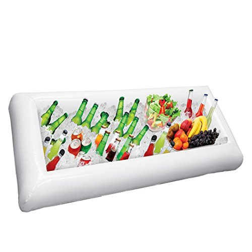 Inflatable Serving Bar Salad Ice Tray Food Drink Containers-BBQ Picnic Pool Party Supplies Buffet Luau Cooler,with a Drain Plug Multifunction-Kids Indoor PVC Inflatable Castle Sandbox Tray[LARGE SIZE]