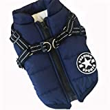 DOGGYZSTYLE Pet Dog Jacket Vest Waterproof Thick Fleece Warm Coat for Puppy Cat Winter Cold Weather Apparel(Blue,S