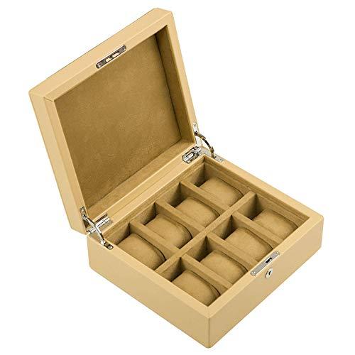 QCSMegy Caja de Reloj con 8 Ranuras, Caja de Reloj con Servicio de Valet, Organizador de exhibición de Reloj de Cuero con Tapa de Vidrio, Caja de Almacenamiento de joyería, Gris/Caqui