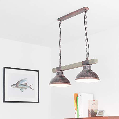 Geschmackvolle Hängeleuchte in Kupfer Antik Holzfarben Vintagestil 2x E27 bis zu 60 Watt 230V aus Metall & Holz Küche Esszimmer Pendelleuchte Hängelampe Pendellampen Beleuchtung innen