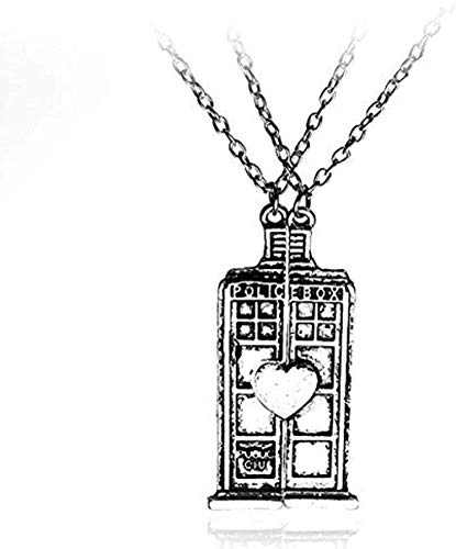 BEISUOSIBYW Co.,Ltd Collar de Moda película Doctor teléfono Colgante de Cabina Collar Unisex Vintage corazón Amante casa Collares y Colgantes