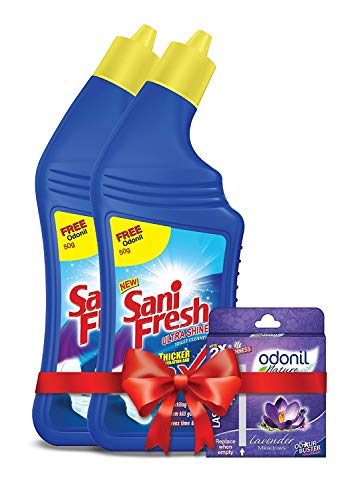 Sanifresh Ultrashine 1L ( 500 + 500) Toilet Cleaner -1.5X Extra Strong Extra Clean with Odonil Room Freshner Blocks 50 g Free