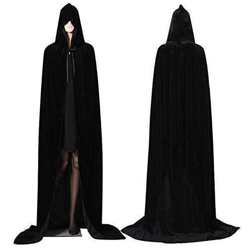 Capa con Capucha Terciopelo Capa Paño L 150cm Negro Capa para niños Adultos Cosplay Unisex