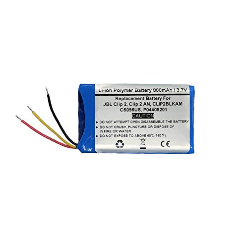 800mAh/3.7V Replacement Battery for JBL Clip 2, Clip 2 an, CLIP2BLKAM, CS056US, P04405201,JBL GSP383555,Portable Speaker Battery
