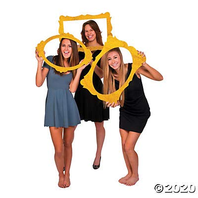 Gold Glitter Picture Frame Cutouts for Photo Booth (set of 3) Party Supplies