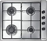 De Longhi FLI46ASV - Placa de cocina a gas de 60 cm, 4 fuegos, acero inoxidable